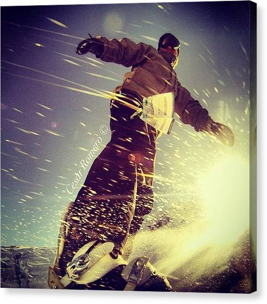 Snowboarding Canvas Print - #amazing #awesome #beauty #burton by Cesar D Romero