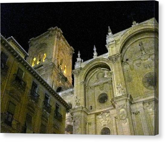 Amazing Exterior Architecture Of Cathedral At Night Granada Spain Canvas Print