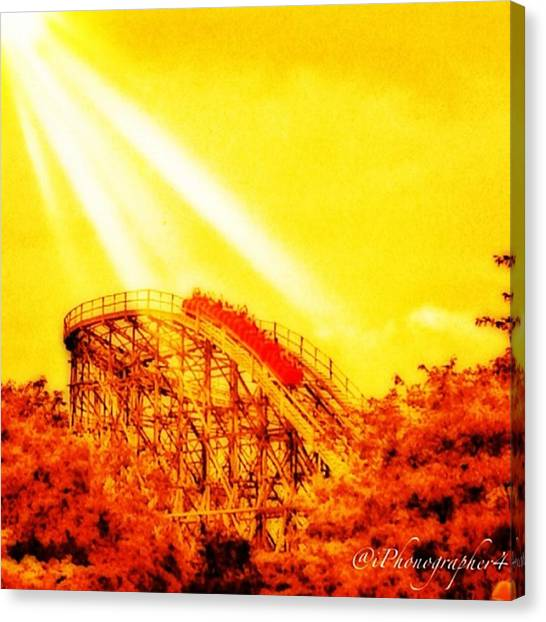 Amazing Canvas Print - #amazing Shot Of A #rollercoaster At by Pete Michaud