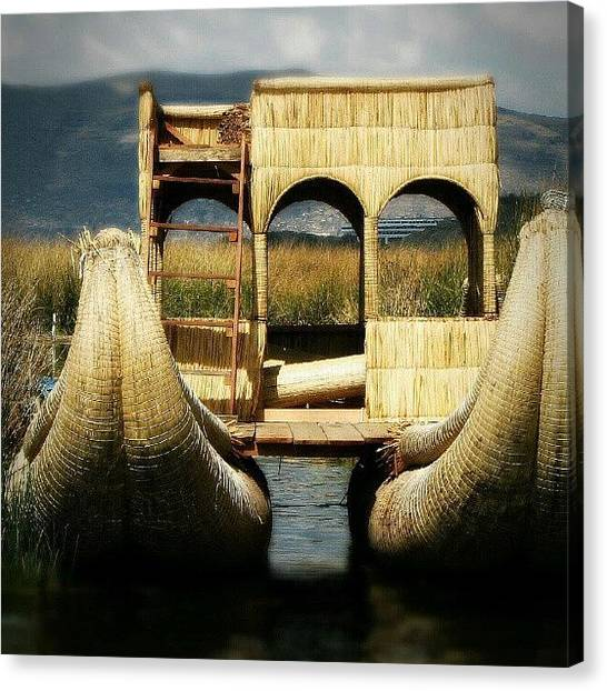 Peruvian Canvas Print - #amazing #straw #boat In #uros by Yannick Menard