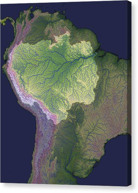 Amazon River Canvas Print - Amazon Basin, Satellite Image by Nasa