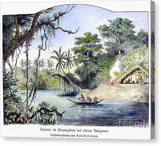 Amazon River Canvas Print - Amazon Jungle, 1892 by Granger