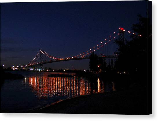 Ambassador Bridge At Night Canvas Print