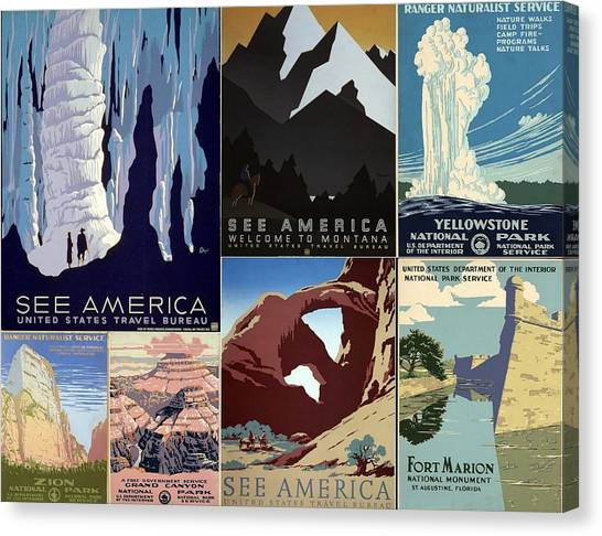 America The Beautiful Vintage Posters Collage Canvas Print