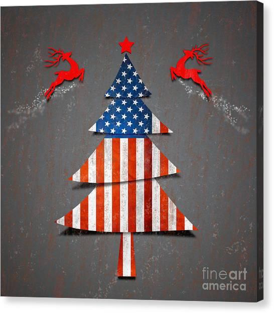 Mistletoe Canvas Print - America X'mas Tree by Atiketta Sangasaeng
