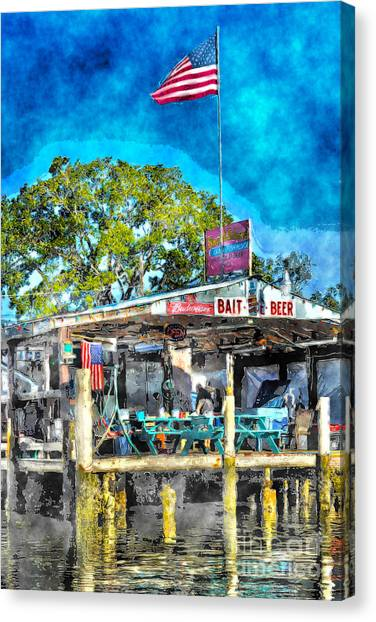 American Flag At Bait Shop Canvas Print