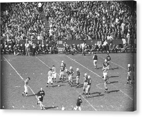 American Football Match, (b&w), Elevated View Canvas Print by George Marks