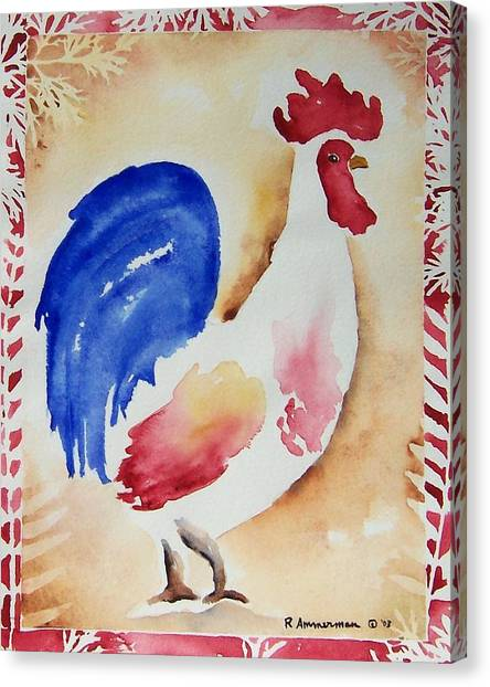 Americana Rooster Canvas Print by Regina Ammerman