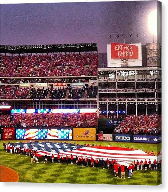 Texas Rangers Canvas Print - America's Game by Todd Peoples