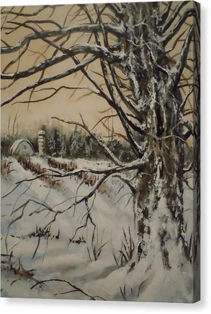 Amish Farm In Winter Canvas Print