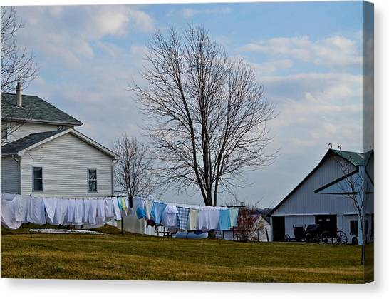 Amish Laundry Canvas Print by Brenda Becker