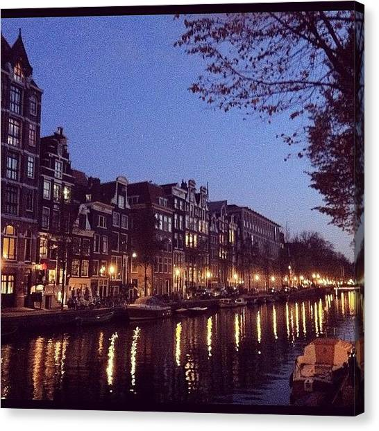 Europa Canvas Print - Amsterdam At #twilight#phonegram by Silvia Chiesa