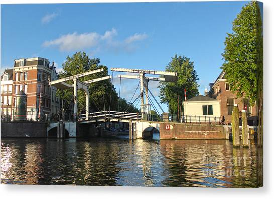 Amsterdam Canal Drawbridge Canvas Print by Gregory Dyer