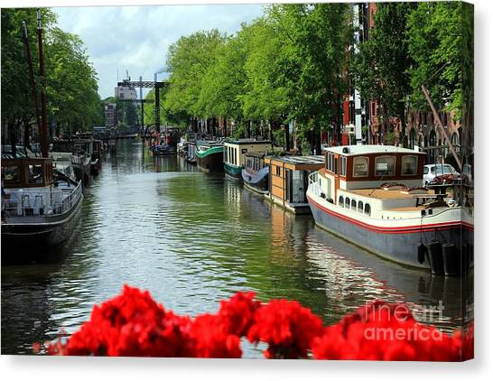Amsterdam Summer Scene Canvas Print by Sophie Vigneault