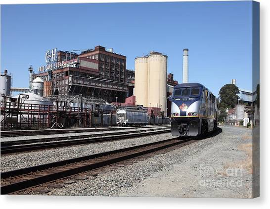 Amtrak Canvas Print - Amtrak California At The Old California And Hawaii Sugar Company . C And H . 5d16774 by Wingsdomain Art and Photography
