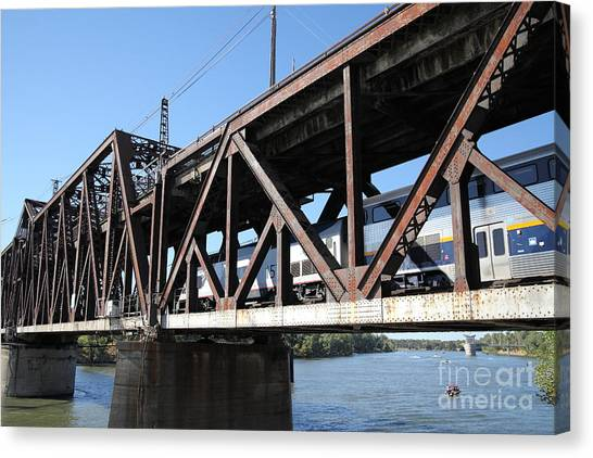 Amtrak Canvas Print - Amtrak California Crossing The Old Sacramento Southern Pacific Train Bridge . 5d18568 by Wingsdomain Art and Photography