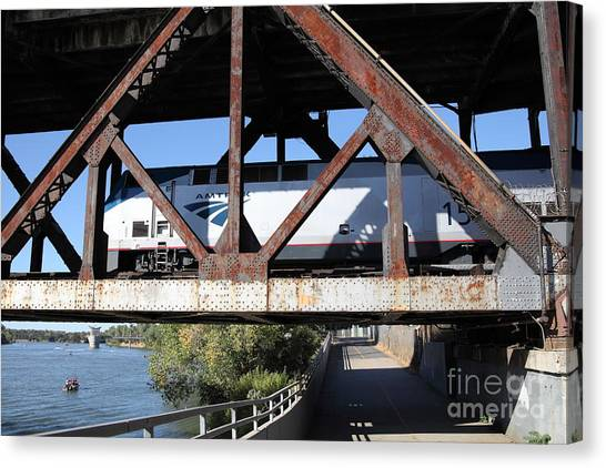 Amtrak Canvas Print - Amtrak California Crossing The Old Sacramento Southern Pacific Train Bridge . 5d18571 by Wingsdomain Art and Photography