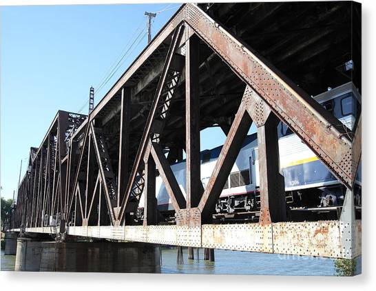 Amtrak Canvas Print - Amtrak California Crossing The Old Sacramento Southern Pacific Train Bridge . 5d18583 by Wingsdomain Art and Photography