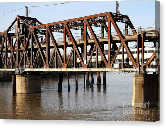 Amtrak Canvas Print - Amtrak California Crossing The Old Sacramento Southern Pacific Train Bridge . 7d11675 by Wingsdomain Art and Photography