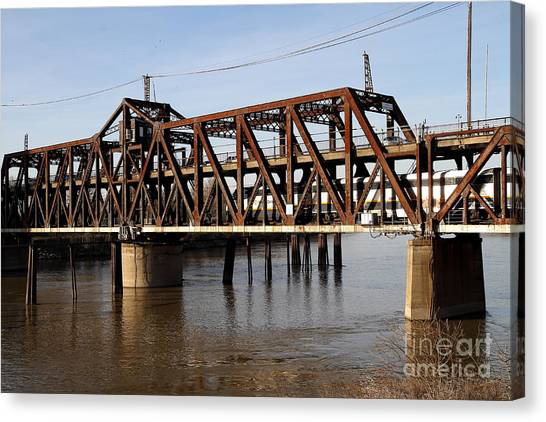 Amtrak Canvas Print - Amtrak California Crossing The Old Sacramento Southern Pacific Train Bridge . 7d11692 by Wingsdomain Art and Photography