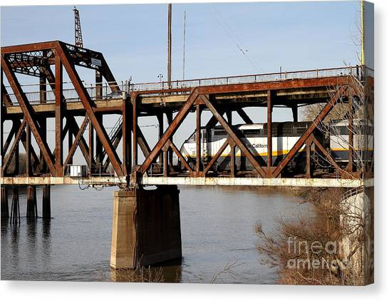 Amtrak Canvas Print - Amtrak California Crossing The Old Sacramento Southern Pacific Train Bridge . 7d11696 by Wingsdomain Art and Photography