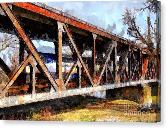 Amtrak Canvas Print - Amtrak California Crossing The Old Sacramento Southern Pacific Train Bridge . Painterly 7d11410 by Wingsdomain Art and Photography