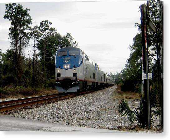 Amtrak Silver Meteor At Lake Woodruff Florida Canvas Print