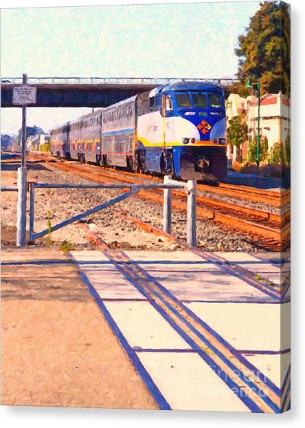 Amtrak Canvas Print - Amtrak Train . Photo Art by Wingsdomain Art and Photography
