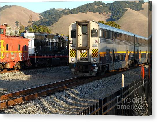 Amtrak Canvas Print - Amtrak Trains At The Niles Canyon Railway In Historic Niles District California . 7d10854 by Wingsdomain Art and Photography