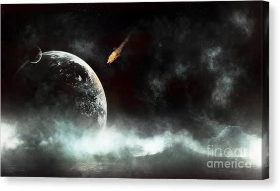 Planetoid Canvas Print - An Abandoned Planet About To Get Hit by Tomasz Dabrowski