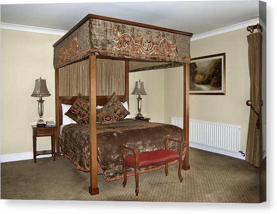 An Antique Style Four Poster Bed Canvas Print by Will Burwell