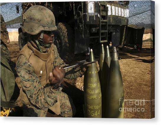 Warheads Canvas Print - An Artilleryman Places A Fuse by Stocktrek Images
