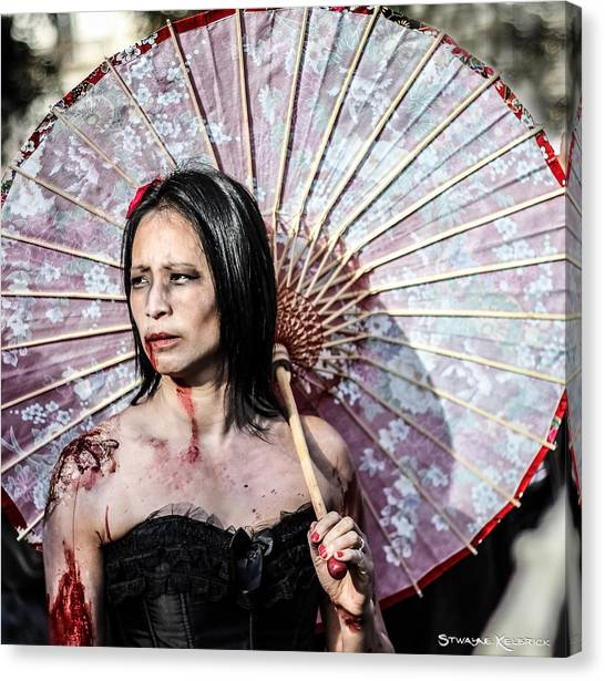 Canvas Print featuring the photograph An Asian Zombie by Stwayne Keubrick