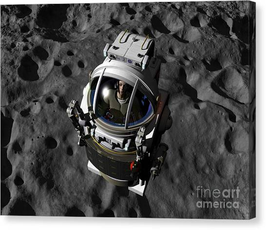 Planetoid Canvas Print - An Astronaut Piloting A Manned by Walter Myers