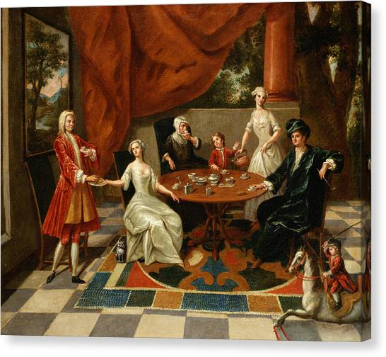 Tea Time Canvas Print - An Elegant Family Taking Tea  by Gavin Hamilton