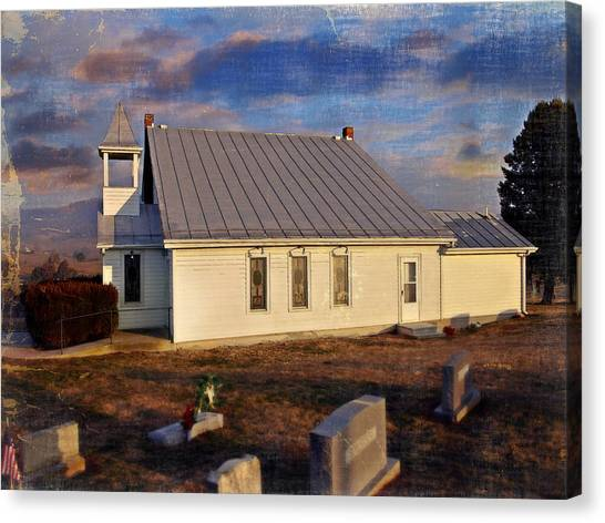 An Evening At Mcelwee Chapel Canvas Print by Kathy Jennings