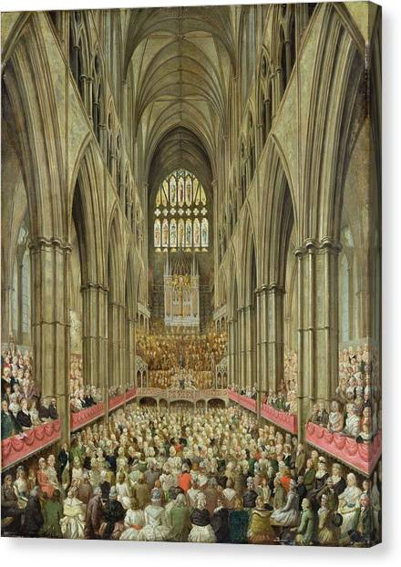 Westminster Abbey Canvas Print - An Interior View Of Westminster Abbey On The Commemoration Of Handel's Centenary by Edward Edwards