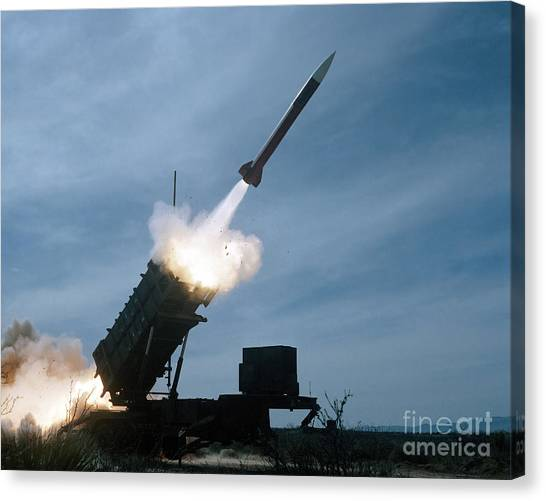 Warheads Canvas Print - An Mim-104 Patriot Missile Is Test by Stocktrek Images