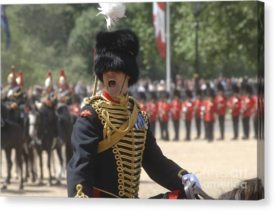 Royal Guard Canvas Print - An Officer Shouts Commands by Andrew Chittock