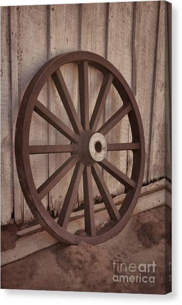 An Old Wagon Wheel Canvas Print