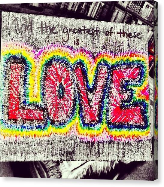 Bible Verses Canvas Print - And The Greatest Of These Is #love by Hollyan Trainer