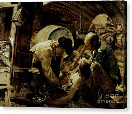 Sick Canvas Print - And They Still Say Fish Is Expensive by Joaquin Sorolla y Bastida