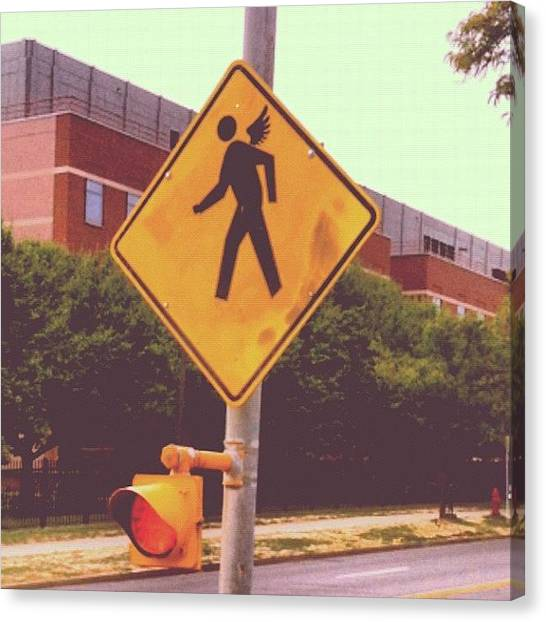 Syracuse University Canvas Print - Angel Crossing... #syracuse #signs by Andres Adler