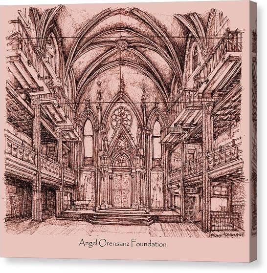 Installation Art Canvas Print - Angel Orensanz Centre In Pink  by Building  Art