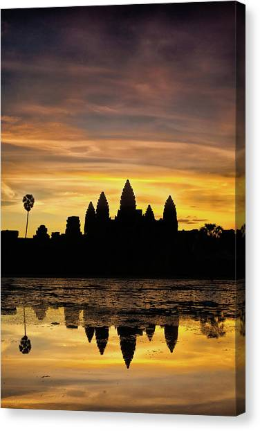 Canvas Print featuring the photograph Angkor Wat At Sunrise II by Stefan Nielsen