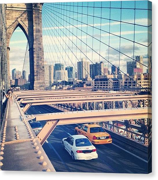 German Canvas Print - Another Day On Brooklyn Bridge by Randy Lemoine