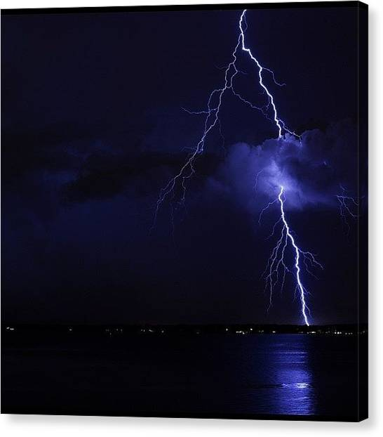 Lightning Canvas Print - Another Less #impressive  #lightning by Louis Bruno