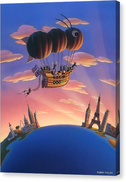 Ants Canvas Print - Ant Airship  by Robin Moline