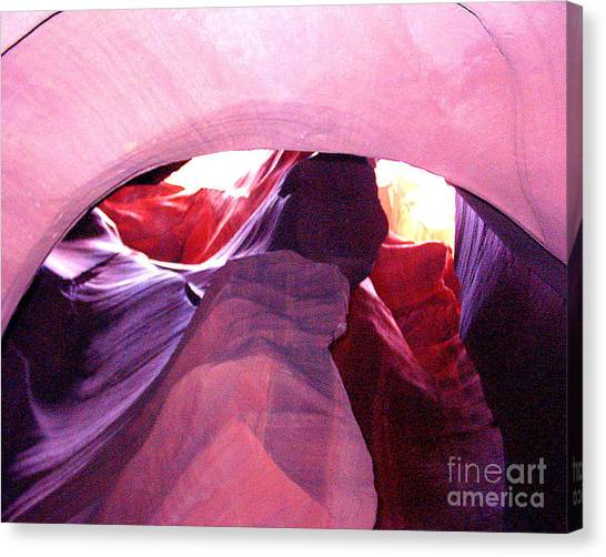 Antelope Slot Canyon Looking Up A Chimney Canvas Print by Merton Allen