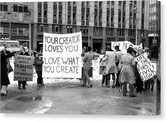 Abortion Canvas Print - Anti-abortion Demonstrators by Everett